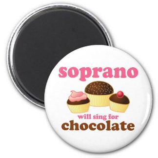 El soprano cantará para el chocolate imán redondo 5 cm
