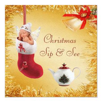 El sorbo del navidad y ve la fiesta de bienvenida