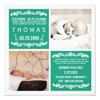 """El sorbo esmeralda moderno del bebé y ve tarjetas invitación 5.25"""" x 5.25"""""""