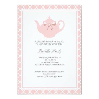 El sorbo rosado dulce del bebé de la tetera y ve a invitación 12,7 x 17,8 cm