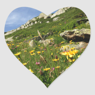 ¡El sorprender! Flores alpinas Pegatina En Forma De Corazón