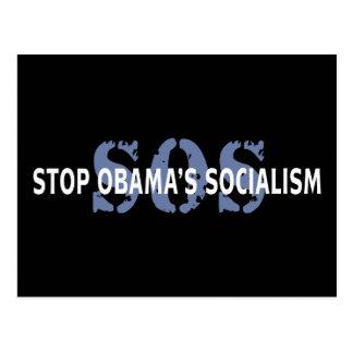 El SOS para el socialismo de Obama Tarjeta Postal