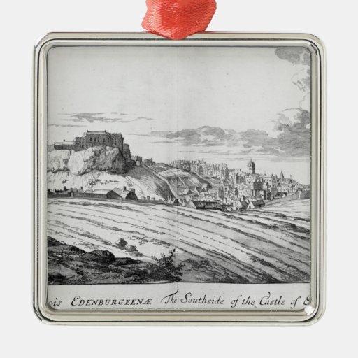El Southside del castillo de Edimburgo Adorno Navideño Cuadrado De Metal