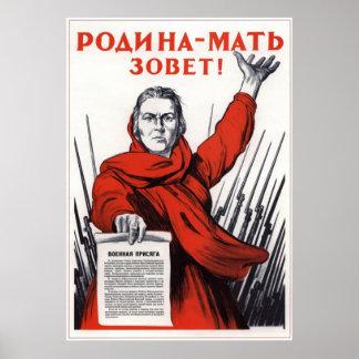 El soviet de WWII URSS la patria llama 1941 Póster