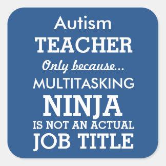 El Special divertido del autismo necesita al Calcomanías Cuadradas Personalizadas