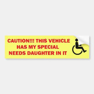 El Special necesita a la hija en vehículo Pegatina Para Auto