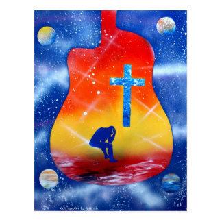El spraypainting, guitarra y cruz de la pintura de tarjetas postales