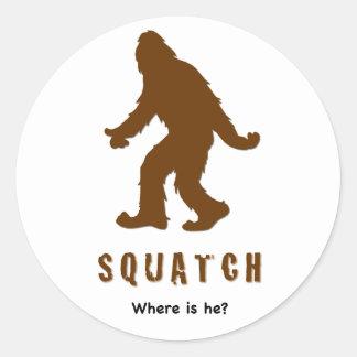 ¿el squatch, donde es él? pegatina redonda
