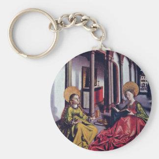El St. Catherine y Maria Magdalena por nombre del Llavero Redondo Tipo Pin