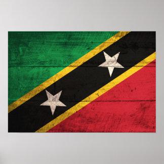 El St de madera viejo San Cristobal Nevis señala Poster