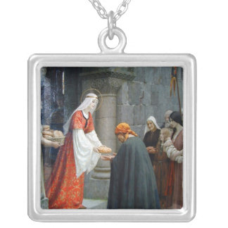 El St. Elizabeth de Hungría alimenta a los pobres Colgante Cuadrado