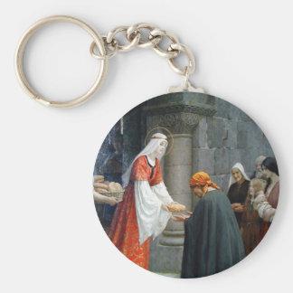 El St. Elizabeth de Hungría alimenta a los pobres Llavero Redondo Tipo Pin