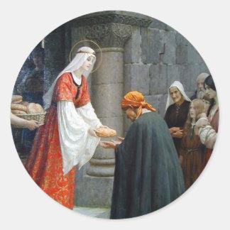 El St. Elizabeth de Hungría alimenta a los pobres Pegatina Redonda