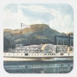 El ` St. John del barco de vapor del río Hudson Pegatina Cuadrada