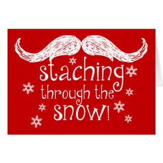 el staching a través de la nieve tarjeta de felicitación