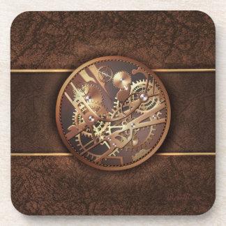 el steampunk elegante adapta el oro y el marrón posavaso