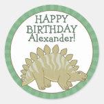 El Stegosaurus personalizado embroma a los Pegatina Redonda