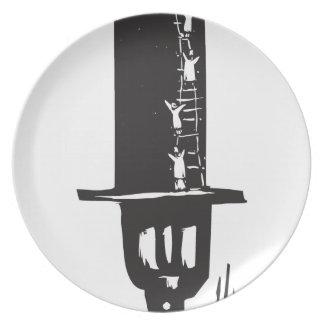 El subir al sombrero de copa plato de comida