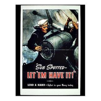 ¡El submarino manchado los dejó tenerlo! Tarjetas Postales