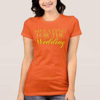 El sudar coralino y amarillo para el boda. playera