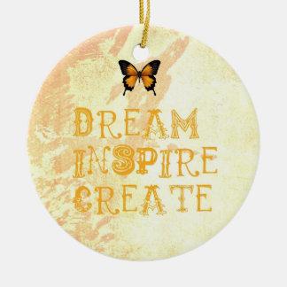 El sueño amarillo, inspira, ornamento del navidad adorno navideño redondo de cerámica