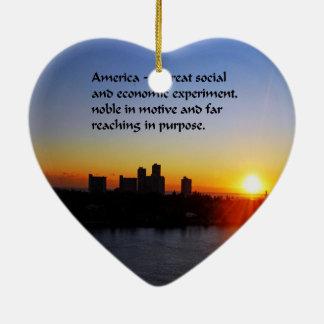 El sueño americano adorno de cerámica en forma de corazón