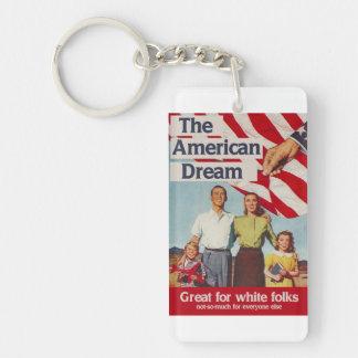 El sueño americano es grande para la gente blanca llavero rectangular acrílico a una cara
