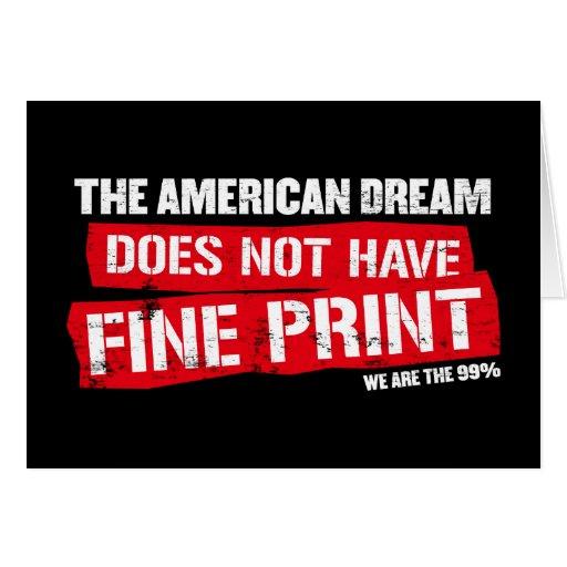 El sueño americano no tiene impresión fina tarjeta de felicitación