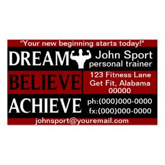 El sueño cree alcanza al instructor personal plantillas de tarjeta de negocio