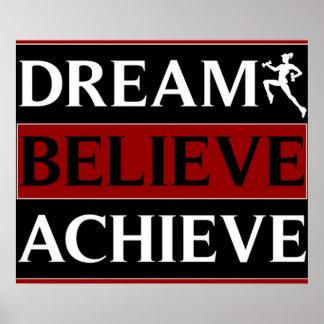 El sueño cree alcanza el poster de la aptitud