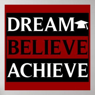 El sueño cree alcanza el poster de la educación póster