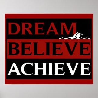 El sueño cree alcanza el poster de la natación póster