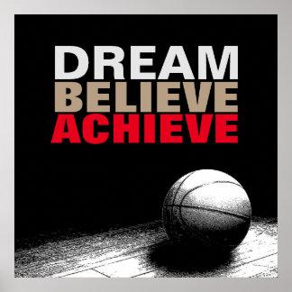 El sueño cree alcanza el poster del baloncesto póster