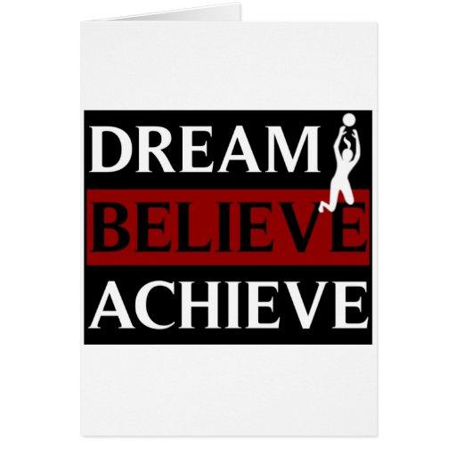 El sueño cree alcanza voleibol para mujer tarjeta de felicitación