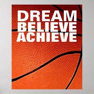 El sueño de motivación cree alcanza baloncesto póster