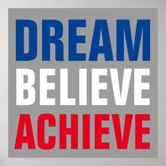 El sueño de motivación cree alcanza inspirado póster