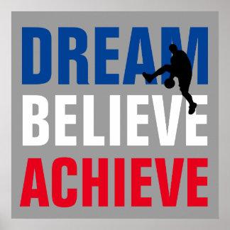 El sueño de motivación del arte del baloncesto póster