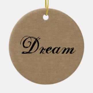 El sueño elegante rústico primitivo cree el burl adorno navideño redondo de cerámica