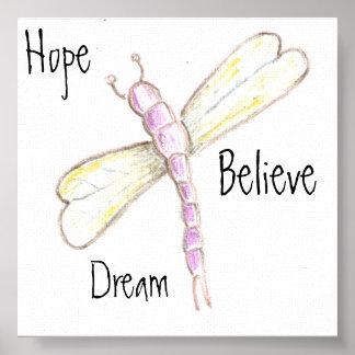 El sueño, esperanza, cree la lona de la libélula impresiones