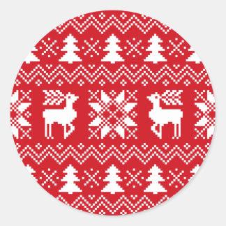 El suéter nórdico del navidad inspiró el modelo pegatina redonda