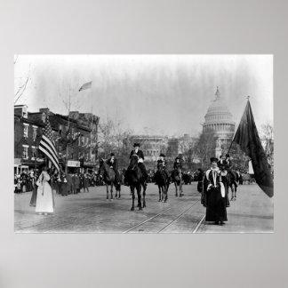 El sufragio de las mujeres que marcha en Washingto Poster