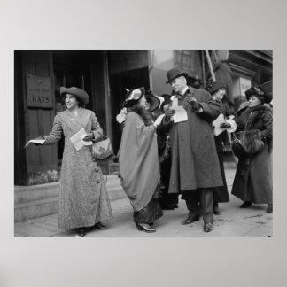 El sufragio Handouts, 1913 de las mujeres Póster