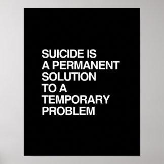 EL SUICIDIO ES UNA SOLUCIÓN PERMANENTE A UN FAVORA PÓSTER