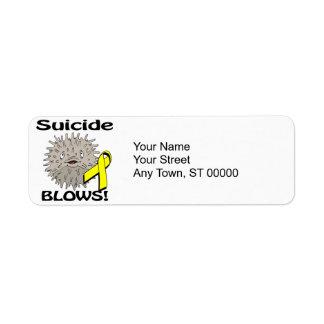 El suicidio sopla diseño de la conciencia etiqueta de remitente