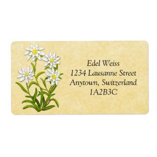 El suizo Edelweiss florece la etiqueta adaptable Etiqueta De Envío