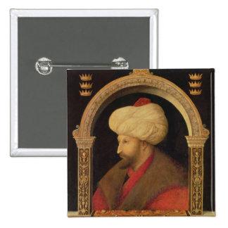 El sultán Mehmet II 1480 Pin Cuadrada 5 Cm