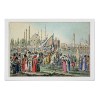 El sultán turco que revisa a sus Janissaries (engr Posters