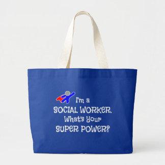 El super héroe del asistente social crea para bolsa tela grande