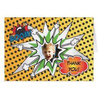 El super héroe del cómic le agradece cardar tarjeta pequeña