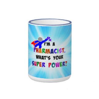 El super héroe del farmacéutico crea para taza de dos colores